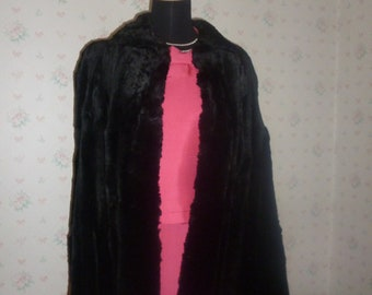 SALE Mid Century Black Sheared Beaver Cape, Ultra-Soft, Ultra-Warm