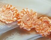PEACH Shabby Rose Satin Ruffled Flower Trim- 17 Rosettes/1 yard
