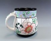 Handmade Pottery Mug, Blue and Black Banded coffee mug with Flowers and Leaves,Ceramic Mug-SKU1211-3