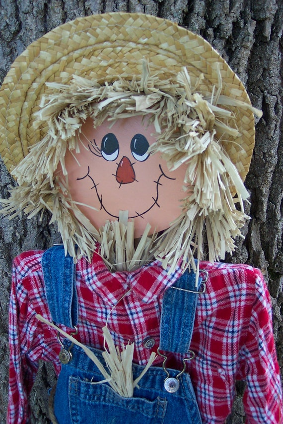 Reserved for Diane Scarecrow  Autumn Indoor or Outdoor Decor Stake In Pot or Ground