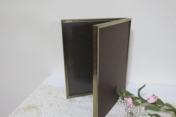 picture frame double gold metal 8 x 10 book style by luruuniques. Black Bedroom Furniture Sets. Home Design Ideas