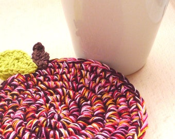 Crochet Apple Coasters - Fruit Drink Coasters - Gift for Teachers - Gift under 20 - Rustic Home Decor - Mothers Day Gift - Set of 2