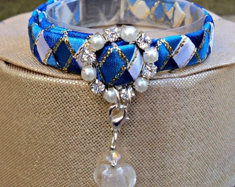 Kitten Collar Breakaway Style in Blue Tones