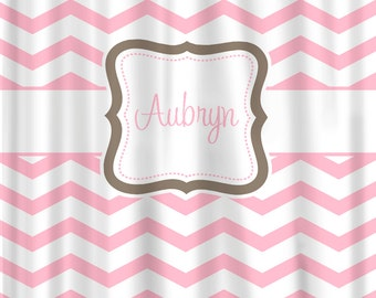 Custom Personalized Chevron Shower Curtain -Any color -Shown here in pastel pink with taupe accents