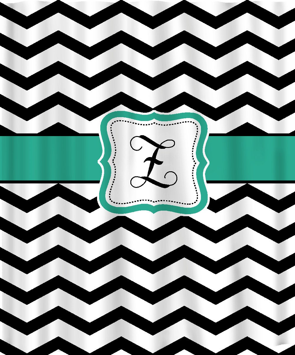 Personalized Shower Curtain Black & White Chevron by redbeauty