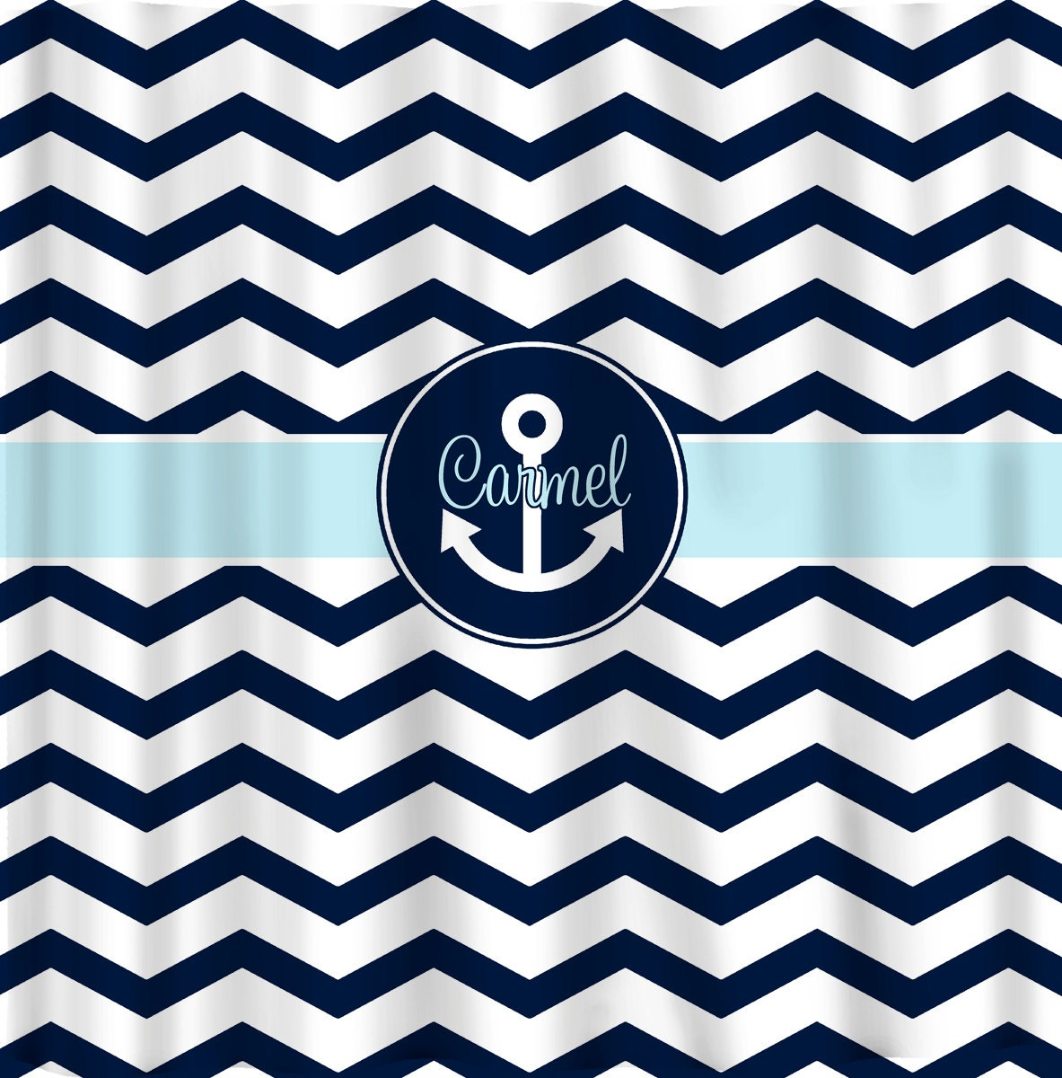 custom personalized shower curtain chevron navy blue by redbeauty