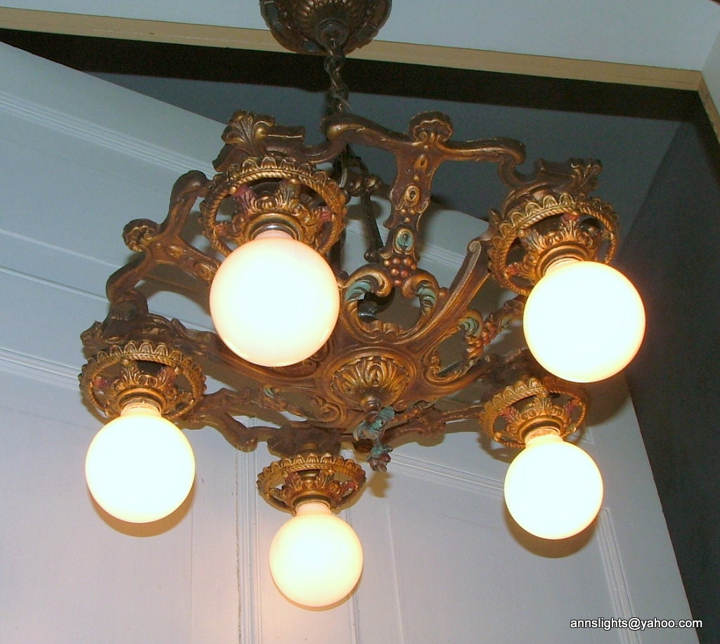 Vintage Ceiling Lighting Fixture Antique Chandelier By AnnsLights