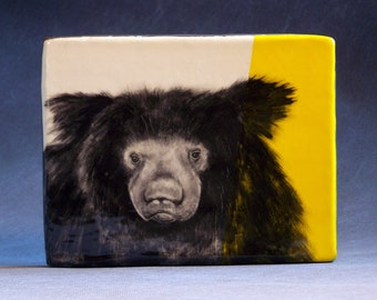 Hand Painted Sloth Bear Portrait Wall Tile Bright Yellow