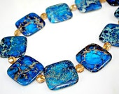 Ocean Blue Jasper Necklace STATEMENT Piece - Incredible Chunky Jasper Gemstones with Champagne Crystals by Mei Faith