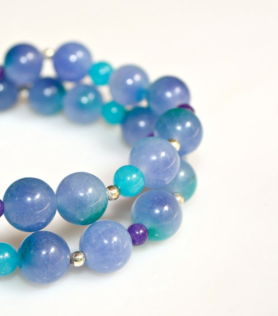 Blue Jade Bracelets -  Unique Stackable Set of Two Asian Flare with Sterling by Mei Faith