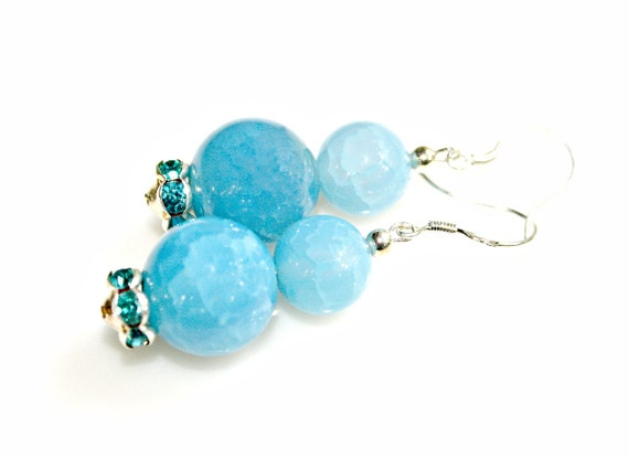 Sky Blue Earrings Sterling Silver - Gorgeous Sparkle Agate Chunky Gemstones Dangles by Mei Faith