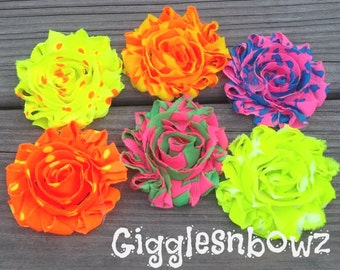 6pc Shabby Chiffon Flowers- NEON- Chiffon Rosettes- Headband Supplies- Craft Supplies- DIY Supplies- Fabric Flowers- Chiffon Rosettes