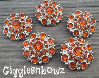 NEW Set of FiVE LIMITED EDITION Orange Acrylic Rhinestone Buttons 27mm