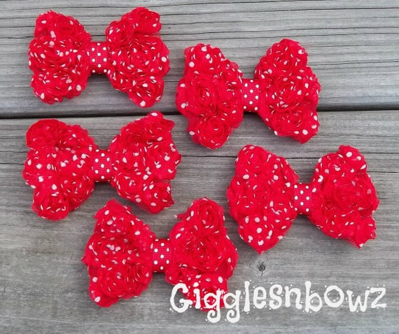GIGGLeSnBoWz EXCLuSiVe DOTS- Set of FiVE PeTiTE Size Shabby ROSE Mesh BoWS- 3 inch ReD PoLKa DoT