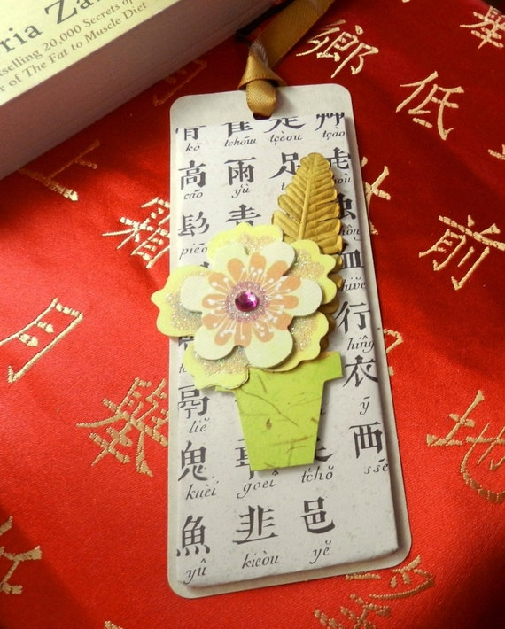 Asian Inspired Bookmark with Flower Pot Embellishment, Birthday, Stocking Stuffer, Mother's Day