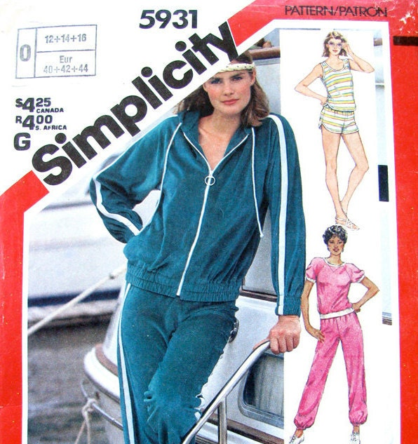 80s workout wear vintage pattern simplicity 5931 jacket tops