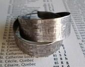 Sterling Silver Hoop Earrings, Large Wide Embossed Textured Handwrought Classic Modern Urban Contemporary Handmade Silversmith Sterling Hoop