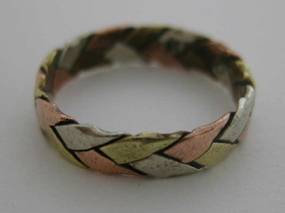 vintage 1970s silver gold copper braided handmade ring