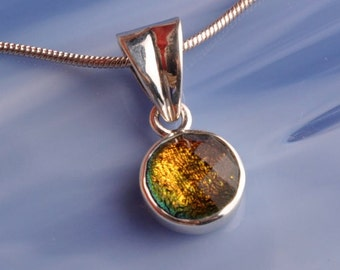 Solid Sterling .925 Silver Handmade Dichroic Fused Glass Pendant Necklace ...color changing...