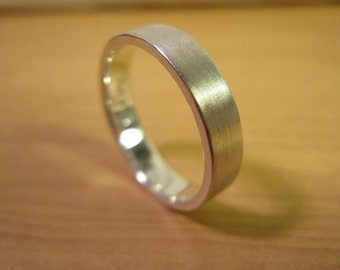 Sterling Silver, Brushed Finish or High Polish, Comfort Fit Wedding Band