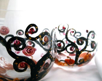 Sleepy Hollow hand painted stemless wine glasses set of 2, pumpkins, swirly trees, gothic