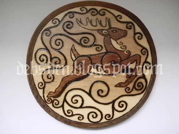 Leaping Deer Wood Plaque Pyrography Stag Hart