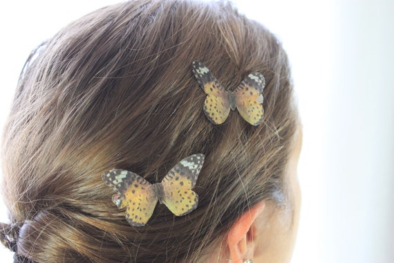 "1 Pair Black Yellow White ""Leopard"" Silk Butterfly Hairclips"