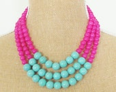 Color Block Necklace Turquoise Blue Magnesite and Fuchsia Pink Dyed Jade - Preppy, Statement Necklace, Multi Strand