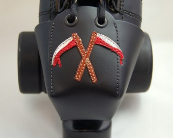 Leather Toe Guards with Bloody Scythes