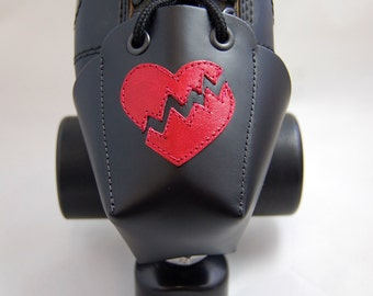 DA-45 Leather Skate Toe Guards with Red Broken Hearts