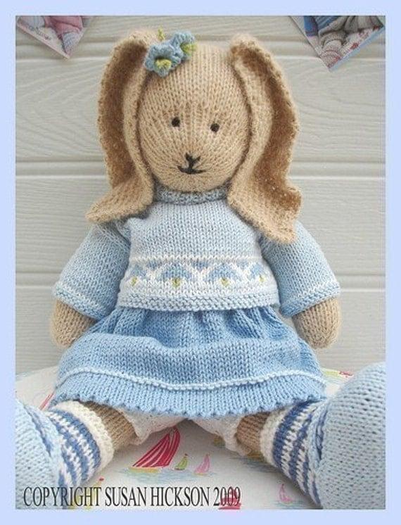 BLUEBELL Rabbit/ PDF Toy Knitting Pattern/ by maryjanestearoom