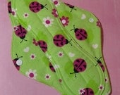 Mama Cloth Reusable Menstrual Pad Sanitary Cloth Pad with PUL liner pink fuchsia ladybugs on neon minty green - size L to L Plus