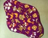 Menstrual Pad Mama Cloth Mama Pad Reusable Sanitary Pad with PUL woodland deer squirrels plum burgundy - size L to L Plus