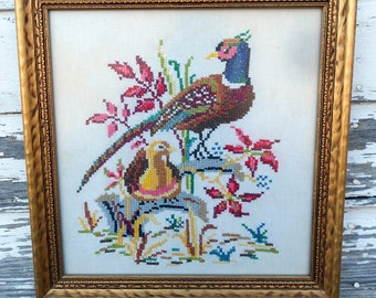 Vintage Cross stitch Picture Pheasants and Flowers