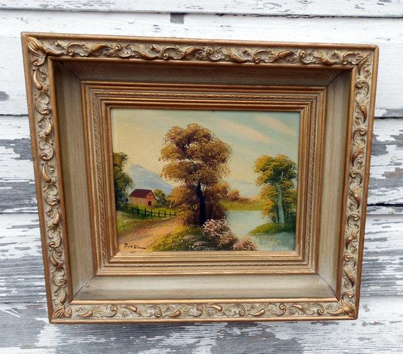 Vintage Oil Painting Rural Farm Scene In Ornate Gesso shadowbox frame.