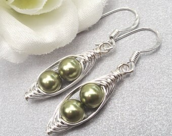Peas in a Pod Earrings, Two Peas In A Pod Earrings, Choose Your Color pearl and metal.