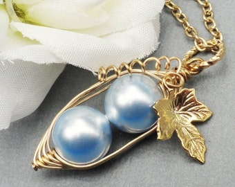 Two Peas In A Pod Gold Pendant Necklace- Love My Boys Blue Swarovski Pearls. For Brides, Friends, Sisters And Mothers
