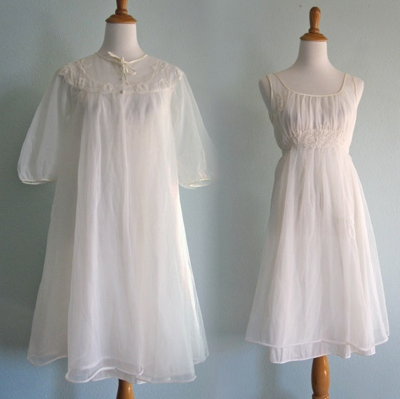 Vintage 50s Gown and Robe - Gorgeous White Chiffon Wedding Night Trousseau Set S M