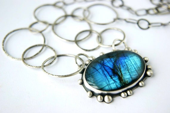 Reserved (Balance) - Of Blue Fire and Ice - Labradorite Sterling Silver Necklace