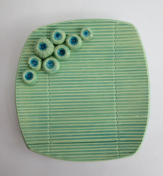 Turquoise Blue Green Bamboo Imprint Soap Dish With Spore Pod Soap Holders