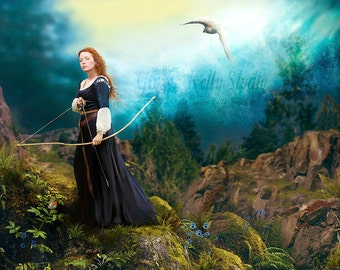 SALE We Are All Stardust, Fantasy Art Print 11 x 14 inches Witch Eagle Familiar, Medieval Archery Dress Inspired by Brave Merida