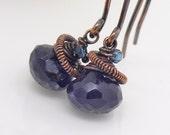 Iolite earrings Blue dangle earrings Copper earrings copper wire wrapped jewelry