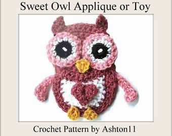 INSTANT DOWNLOAD Crochet Pattern PDF 135 -Baby Owl Applique or Toy-Crochet Pattern by Ashton11