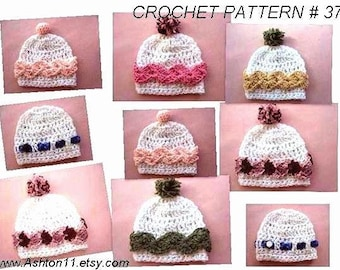 INSTANT DOWNLOAD Crochet Pattern PDF 37 - Beanie hat - newborn baby  to adult sizes given.