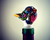 Ceramic Wine Stopper Love Bird Bottle Stopper Pink Heart Folk Art Day of the Dead Painted Turquoise -  MADE TO ORDER
