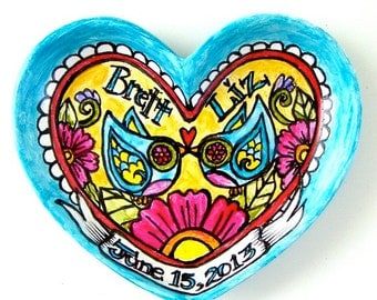 Love Birds Custom Wedding Gift Hand Painted Ceramic Heart Dish Flowers Personalize Banner Names Dates Turquoise Blue Pink Yellow