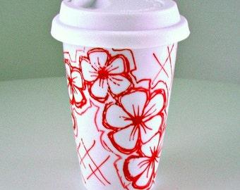 Ceramic Travel Mug Red Flowers Graffiti Hand Painted Eco Friendly Modern Hand Painted Porcelain Tumbler