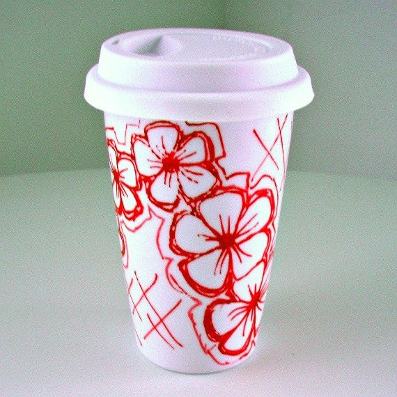 Ceramic Travel Mug Red Flowers Graffiti Hand Painted Eco Friendly Modern Hand Painted Porcelain Tumbler
