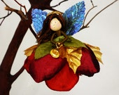 Christmas Angel Ornament in Red, Green and Gold, Fairy Flower Angel Doll, Miniature Angel Tree Ornament, Angel Christmas Decoration