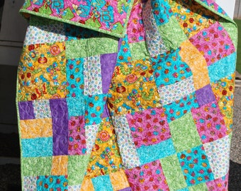 Large Lap Quilt Play quilt Dancing Bugs Toddler quilt, 54 by 72 cute insects caterpillars bumblebees Quiltsy Handmade